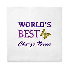 World's Best Charge Nurse (Butterfly) Queen Duvet