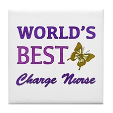 World's Best Charge Nurse (Butterfly) Tile Coaster