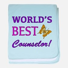 World's Best Counselor (Butterfly) baby blanket