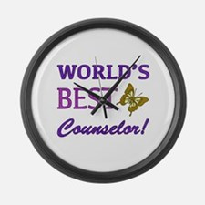 World's Best Counselor (Butterfly) Large Wall Cloc