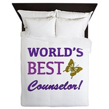 World's Best Counselor (Butterfly) Queen Duvet