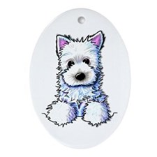 Westie Pocket PUPPY Oval Ornament