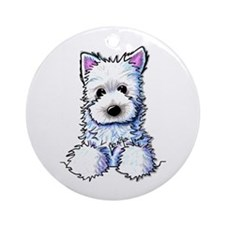Westie Pocket PUPPY Ornament (Round)