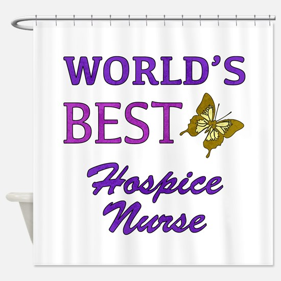 World's Best Hospice Nurse (Butterfly) Shower Curt