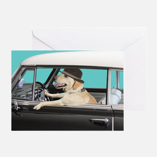 Yellow Labrador Driving Classic Car Greeting
