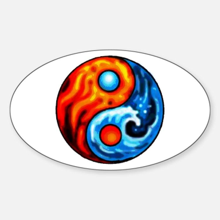 FIRE - WATER YIN - YANG Oval Decal