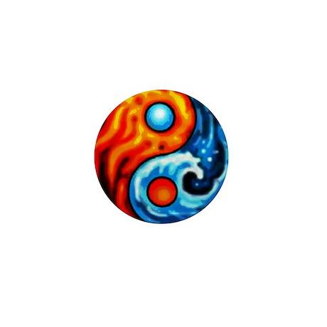 FIRE - WATER YIN - YANG Mini Button (10 pack)