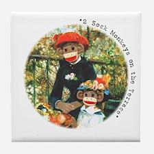 2 Sock Monkeys White Tile Coaster