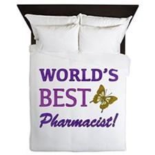 World's Best Pharmacist (Butterfly) Queen Duvet