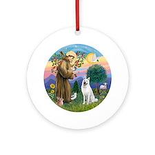 St Francis-German Shep (w) Ornament (round)