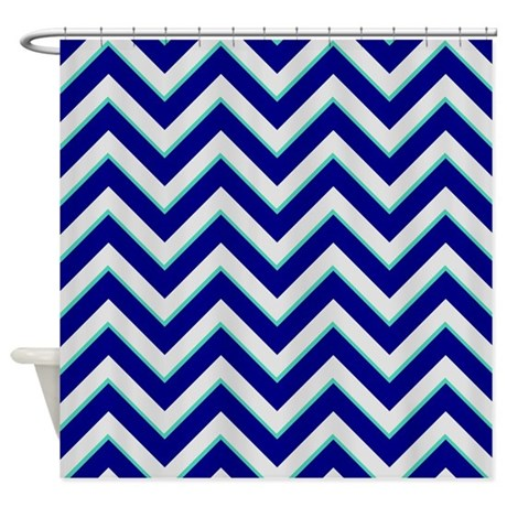Navy Turquoise And Silver Chevrons Shower Curtain By