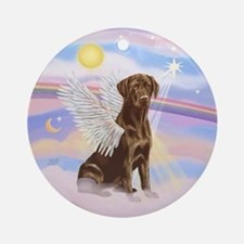 Clouds - Chocolate Lab sOrnament (Round)