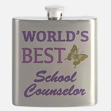 World's Best School Counselor (Butterfly) Flask