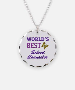 World's Best School Counselor (Butterfly) Necklace
