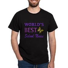 World's Best School Nurse (Butterfly) T-Shirt