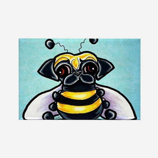 Pug as Bee Blue Magnets