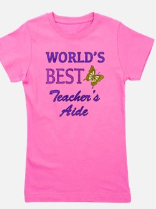 World's Best Teacher's Aide (Butterfly) Girl's Tee