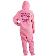 World's Best Teacher's Aide (Butterfly) Footed Pajamas