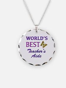 World's Best Teacher's Aide (Butterfly) Necklace