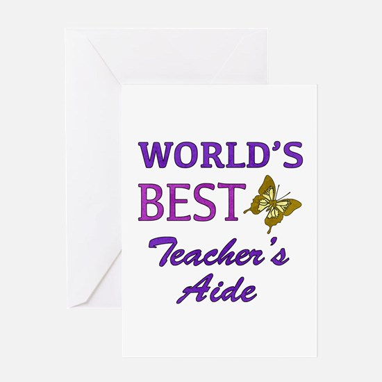 World's Best Teacher's Aide (Butterfly) Greeting C