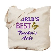 World's Best Teacher's Aide (Butterfly) Tote Bag