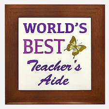 World's Best Teacher's Aide (Butterfly) Framed Til