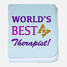 World's Best Therapist (Butterfly) baby blanket