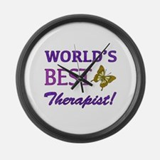 World's Best Therapist (Butterfly) Large Wall Cloc