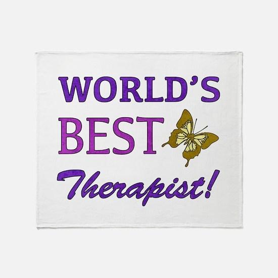 World's Best Therapist (Butterfly) Throw Blanket