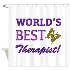World's Best Therapist (Butterfly) Shower Curtain