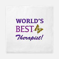 World's Best Therapist (Butterfly) Queen Duvet