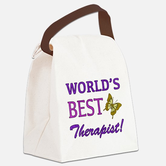 World's Best Therapist (Butterfly) Canvas Lunch Ba