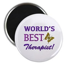 """World's Best Therapist (Butterfly) 2.25"""" Magnet (1"""