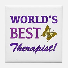 World's Best Therapist (Butterfly) Tile Coaster