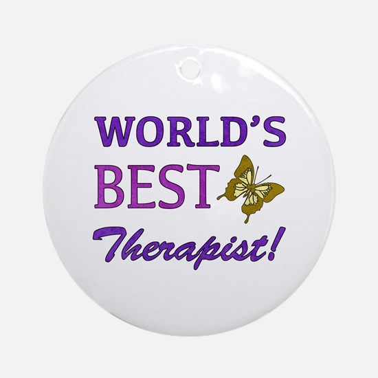 World's Best Therapist (Butterfly) Ornament (Round