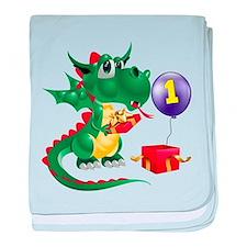 Dragon 1st Birthday baby blanket