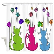 Whimsical Cats and Flowers Duvet Shower Curtain