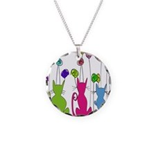 Whimsical Cats and Flowers Duvet Necklace