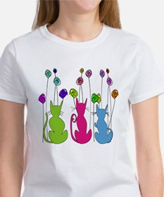 Whimsical Cats and Flowers Duvet T-Shirt