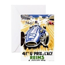 Vintage 1954 French Grand Prix Auto Race Poster Gr