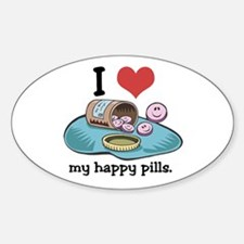 I Heart (Love) My Happy Pills Oval Decal