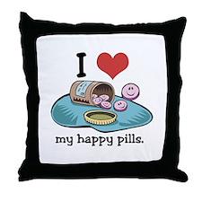 I Heart (Love) My Happy Pills Throw Pillow