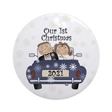 Just Married 1st Christmas Ornament (round)