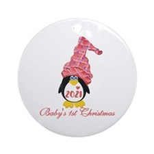 (pink) Penguin First Christmas Ornament (round)
