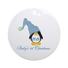 (blue) Penguin First Christmas Ornament (round)