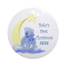 Blue Teddy Moon And Stars 2014 Ornament (round)