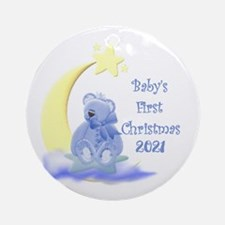 Blue Teddy Moon And Stars 2016 Round Ornament