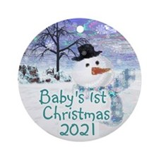 Frosty The Snowman 1st Christmas Ornament (round)