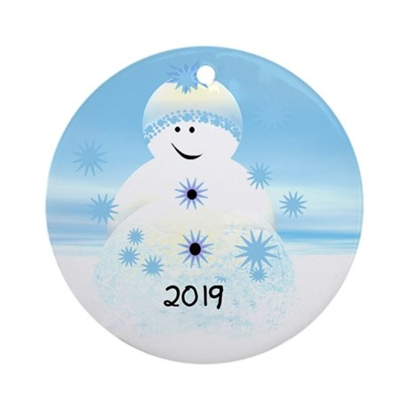 Snowman Blues 2014 Keepsake Ornament (round)