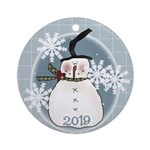 Stovepipe Hat Snowman (round) Round Ornament